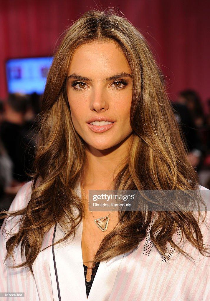 Model Alessandra Ambrosio Prepares At The 2013 Victoria S