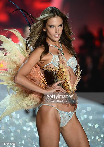 Model Alessandra Ambrosio walks the runway at the 2013 Victoria's Secret Fashion Show at Lexington Avenue Armory on November 13 2013 in New York City