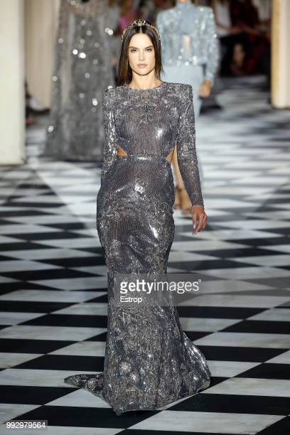 Model Alessandra Ambrosio walks the runway during the Zuhair Murad Haute Couture Fall Winter 2018/2019 show as part of Paris Fashion Week on July 4...
