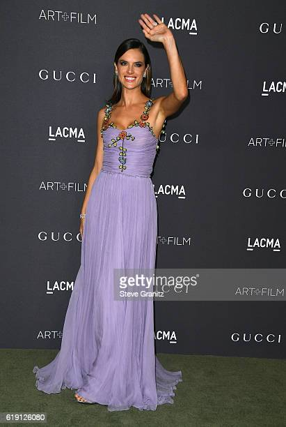 Model Alessandra Ambrosio wearing Gucci attends the 2016 LACMA Art Film Gala honoring Robert Irwin and Kathryn Bigelow presented by Gucci at LACMA on...