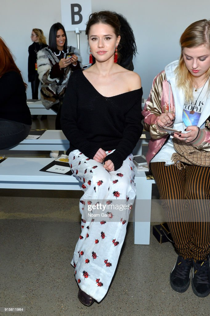 Model Alessandra Ford Balazs attends the front row for Noon by Noor during New York Fashion Week: The Shows at Gallery II at Spring Studios on February 8, 2018 in New York City.