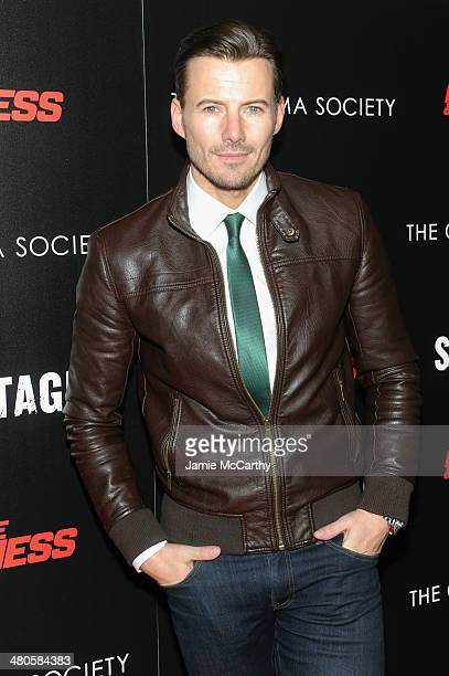 Model Alex Lindquist attends The Cinema Society with Muscle Fitness screening of Open Road Films' Sabotage at AMC Loews Lincoln Square on March 25...