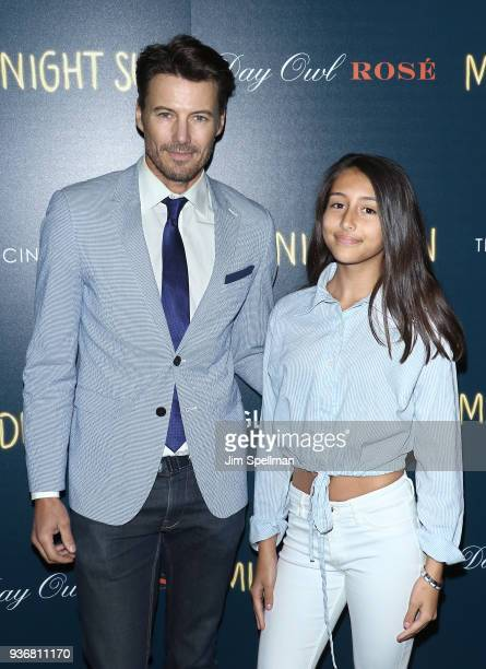 Model Alex Lundqvist and daughter attend the screening of Global Road Entertainment's 'Midnight Sun' hosted by The Cinema Society and Day Owl Rose at...