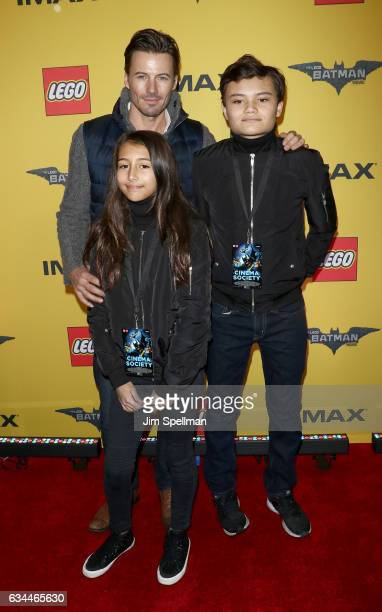 Model Alex Lundqvist and family attend 'The Lego Batman Movie' New York screening at AMC Loews Lincoln Square 13 on February 9 2017 in New York City