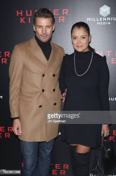 Model Alex Lundqvist and Keytt Lundqvist attend the world premiere of 'Hunter Killer' hosted by Lionsgate at Intrepid SeaAirSpace Museum on October...