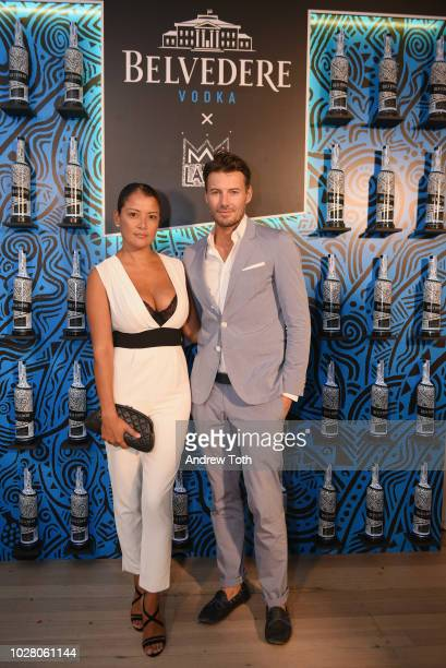 Model Alex Lundqvist attends the Belvedere Vodka's Celebration of the Launch of the 2018 Limited Edition bottle designed by Laolu Senbanjo during New...