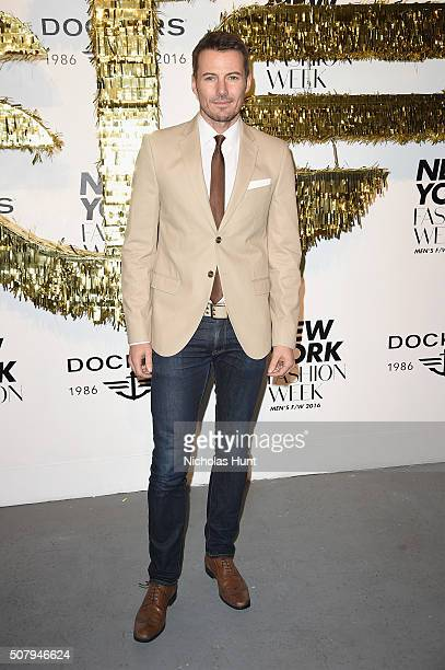 Model Alex Lundqvist attends the Dockers x CFDA NYFWM Opening Party during New York Fashion Week Men's Fall/Winter 2016 at ArtBeam on February 1 2016...