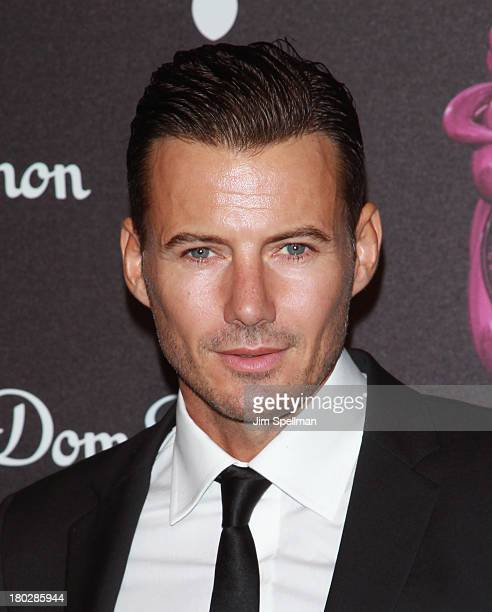 Model Alex Lundqvist attends the Dom Perignon Limited Edition Jeff Koons Bottle Launch at 711 Greenwich Street on September 10 2013 in New York City