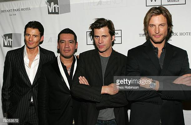 Model Alex Lundqvist Wilhelmina President Sean Patterson model Mark Vanderloo and model Gabriel Aubry pose at the Premiere Launch Party for VH1's The...
