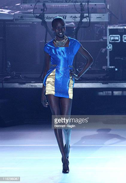 Model Alex Wek wearing Deola Sagoe at Thisday presents Africa Rising at the Kennedy Center Concert Hall on August 1 2008 in Washington DC