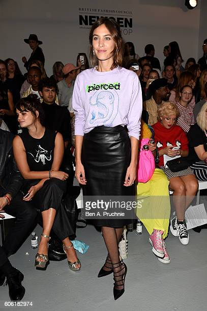 Model Alexa Chung attends the Ashley Williams show during London Fashion Week Spring/Summer collections 2017 on September 16 2016 in London United...