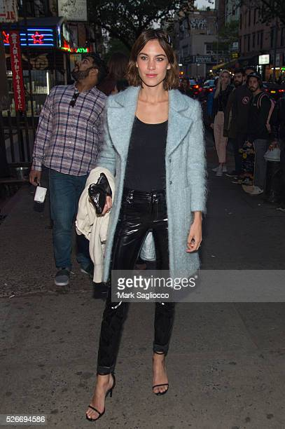 Model Alexa Chung attends the Voguecom Met Gala Cocktail Party at Search Destroy on April 30 2016 in New York City