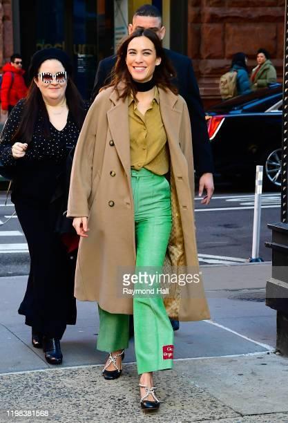 Model Alexa Chung is seen outside build studio on February 3, 2020 in New York City.