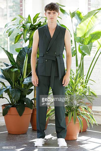 Model Alexander Beck of England poses at the Carlos Campos Spring/Summer 2016 Presentation during New York Fashion Week: Men's S/S 2016 at Industria...