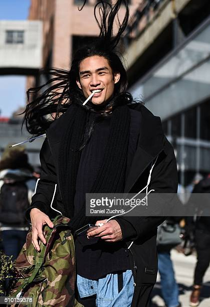 Model Alexander Dominguez is seen outside the Tibi show wearing a Control Sector jacket and DKNY sweater during New York Fashion Week Women's...