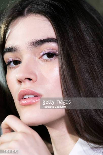 Model Alexandra Micu is seen backstage ahead of the Blumarine show during Milan Fashion Week Spring/Summer 2019 on September 21 2018 in Milan Italy