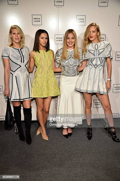 Model Alexandra Richards actressesAnnet Mahendru and Abbie Cornish and model Petra Nemcova pose backstage at the Herve Leger By Max Azria Fall 2016...