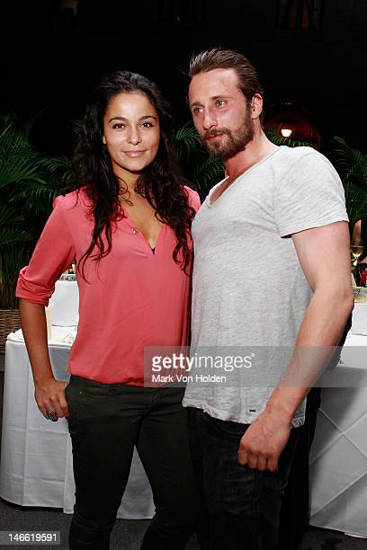 Model Alexandra Schouteden and actor Matthias Schoenaerts attend the after party for The Cinema Society with The Hollywood Reporter Piaget and...