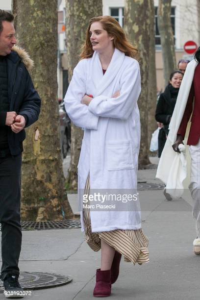 Model Alexina Graham arrives on the set of new 'L'Oreal' shooting at 'Broken Arm Cafe' on March 26 2018 in Paris France