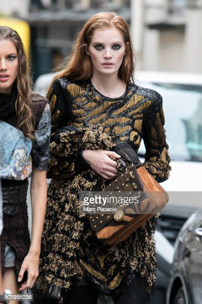 Model Alexina Graham is seen during a photoshoot on June 27 2017 in Paris France