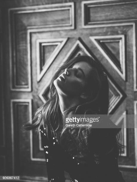 Model Alexina Graham poses backstage before the Balmain show as part of the Paris Fashion Week Womenswear Fall/Winter 2018/2019 on March 2 2018 in...