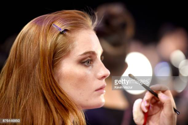 Model Alexina Graham prepares in Hair Makeup during 2017 Victoria's Secret Fashion Show In Shanghai at MercedesBenz Arena on November 20 2017 in...