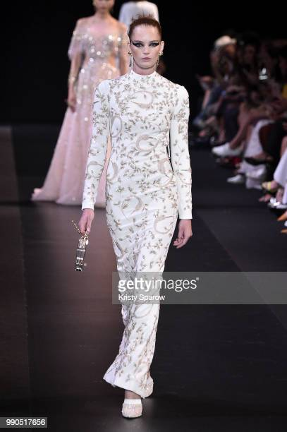 Model Alexina Graham walks the runway during the George Hobeika Haute Couture Fall Winter 2018/2019 show as part of Paris Fashion Week on July 2,...