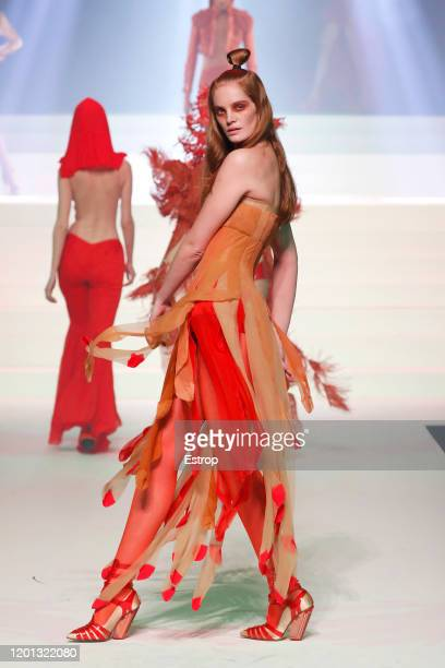 Model Alexina Graham walks the runway during the JeanPaul Gaultier Haute Couture Spring/Summer 2020 show as part of Paris Fashion Week at Theatre Du...