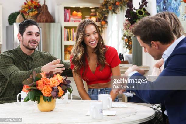 Model Alexis Ren and Dancer / TV Personality Alan Bersten visit Hallmark's 'Home Family' at Universal Studios Hollywood on October 12 2018 in...
