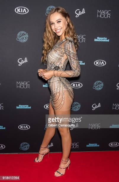 Model Alexis Ren attends the 2018 Sports Illustrated Swimsuit Issue Launch Celebration at Magic Hour at Moxy Times Square on February 14 2018 in New...