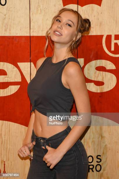 Model Alexis Ren is seen arriving at the red carpet for opening of the store Levi's in the Historic Center of the City of mexico on March 22 2018 in...