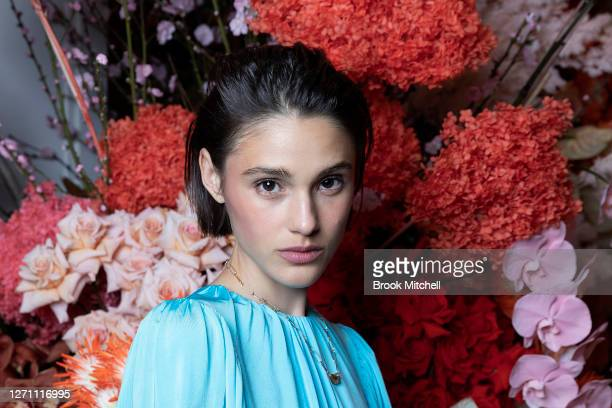 Model Aleyna Fitzgerald poses ahead of the David Jones SS20 New Dawn Season Launch at David Jones Elizabeth Street Store on September 07 2020 in...