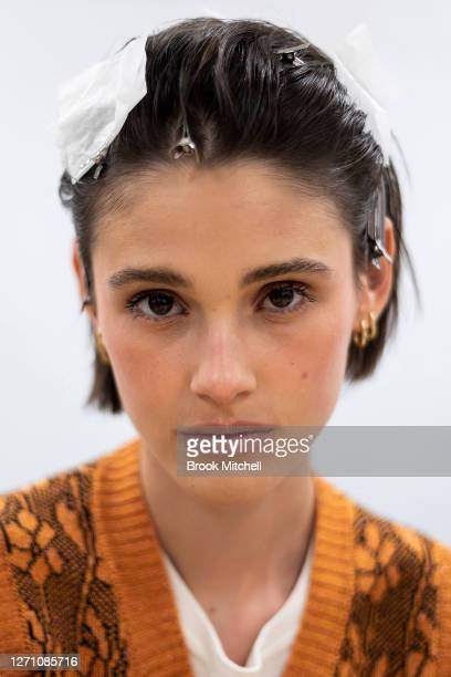 Model Aleyna Fitzgerald poses backstage ahead of the David Jones SS20 New Dawn Season Launch at David Jones Elizabeth Street Store on September 07...