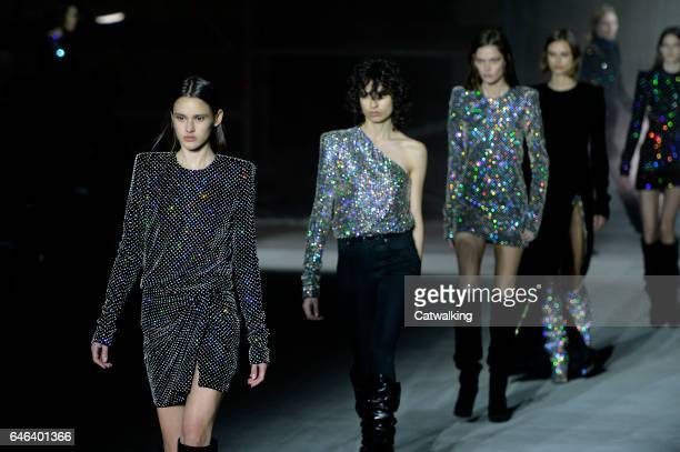 Model Aleyna FitzGerald walks the runway at the Saint Laurent Autumn Winter 2017 fashion show during Paris Fashion Week on February 28 2017 in Paris...