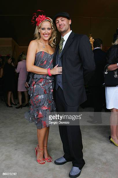 Model Ali Mutch and her partner Paul Stanner arrive for the Emirates Doncaster Day at the Randwick Racecourse on April 18 2009 in Sydney Australia