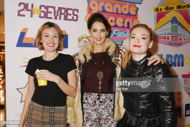 Model Alice Aufray actresses Julie Depardieu and Julie Judd attend 'Let's Go Logo' Exhibition Preview at Le Bon Marche on February 26 2018 in Paris...