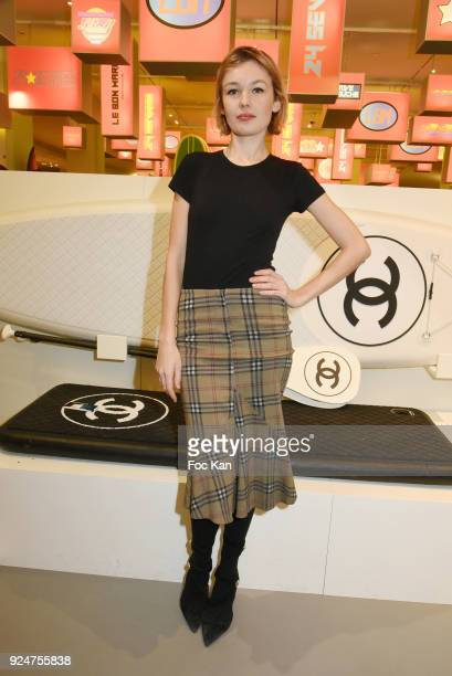 Model Alice Aufray attends 'Let's Go Logo' Exhibition Preview at Le Bon Marche on February 26 2018 in Paris France