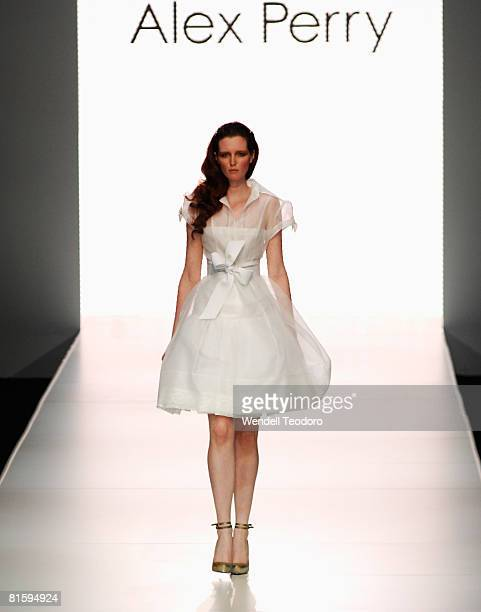 Model Alice Burdeu an outift by designer Alex Perry on the catwalk on the second day of the Rosemount Australian Fashion Week Spring/Summer 2008/09...