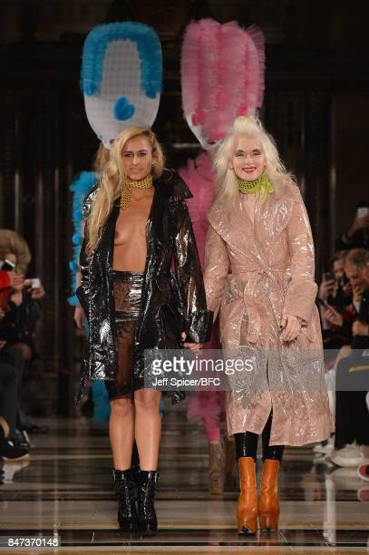 Model Alice Dellal and fashion designer Pam Hogg walk the runway after the Pam Hogg show during London Fashion Week September 2017 on September 15...