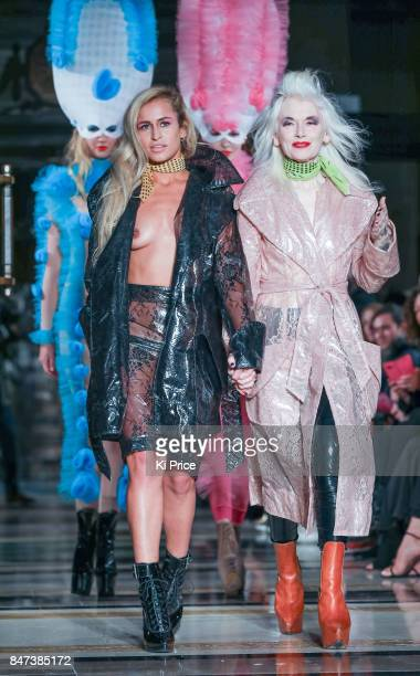 Model Alice Dellal and Pam Hogg walk the runway at the Pam Hogg show during London Fashion Week September 2017 on September 15 2017 in London England