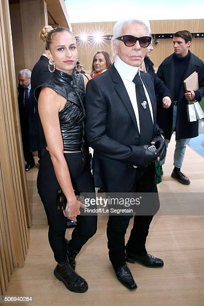 Model Alice Dellal and Stylist Karl Lagerfeld pose after the Chanel Spring Summer 2016 show as part of Paris Fashion Week on January 26 2016 in Paris...
