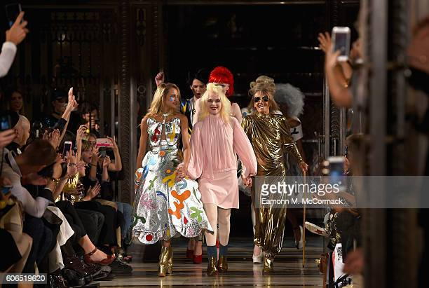 Model Alice Dellal designer Pam Hogg and Anita Pallenberg walk the runway at the Pam Hogg show at Fashion Scout during London Fashion Week...