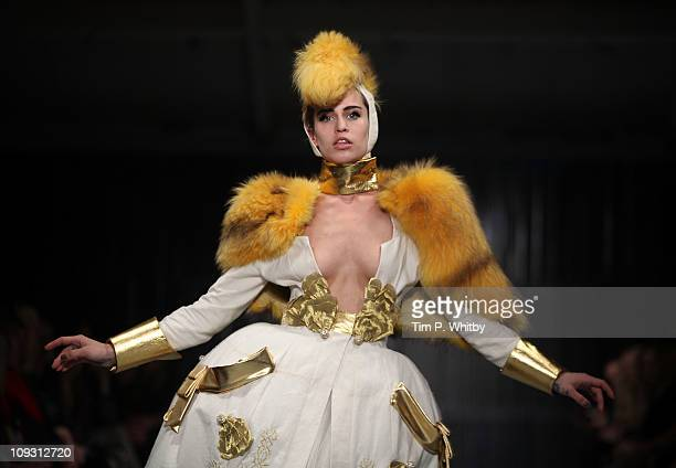 Model Alice Dellal walks the runway at the Pam Hogg Show at London Fashion Week Autumn/Winter 2011 at Mercer Studios on February 20 2011 in London...