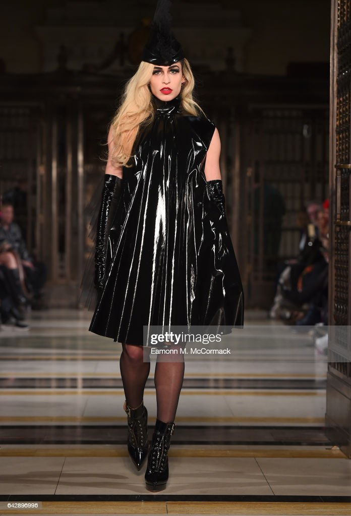 Model Alice Dellal walks the runway at the Pam Hogg show during the London Fashion Week February 2017 collections on February 19, 2017 in London, England.