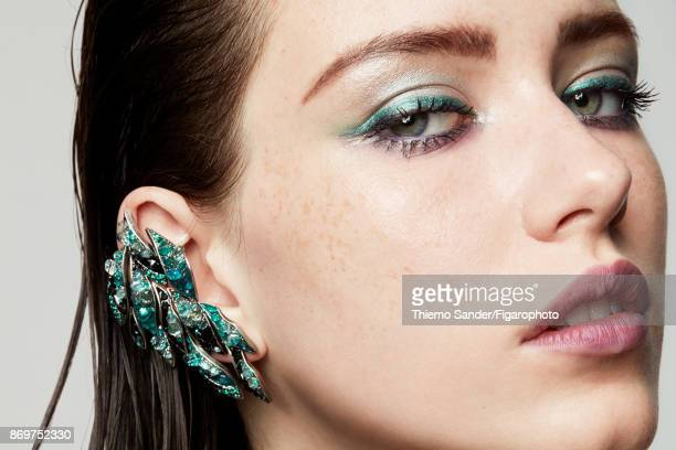 Model Alice Gilbert poses at a beauty shoot for Madame Figaro on July 10 2017 in Paris France Makeup by Yves Saint Laurent Earring CREDIT MUST READ...