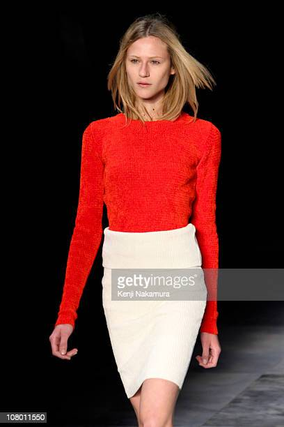Model Alicia Kuczman displays a design by Coven during the Fashion Rio Winter 2011 at Pier Maua on January 12 2011 in Rio de Janeiro Brazil