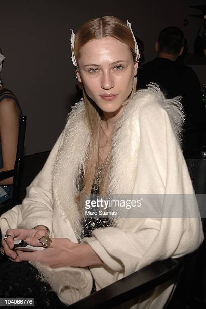 Model Alicia Kuczman prepares backstage at the RAD by Rad Hourani Spring 2011 fashion show during MercedesBenz Fashion Week at Milk Studios on...