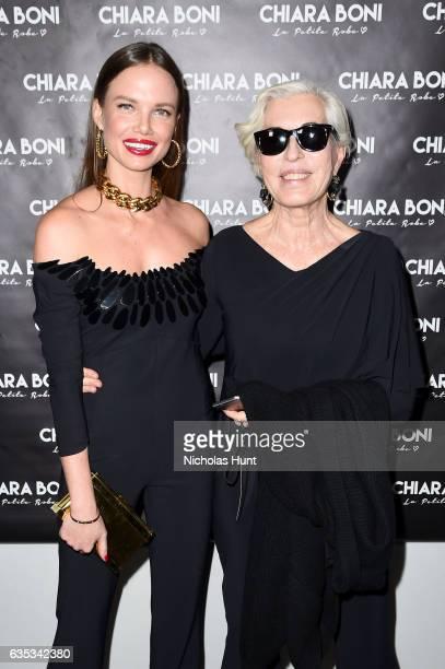 Model Alicia Rountree and designer Chiara Boni pose backstage for the Chiara Boni La Petite Robe collection during New York Fashion Week The Shows at...