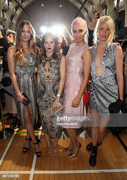 Model Alicia Rountree Rosie Fortescue Amber Le Bon and Caroline Winberg attend the Julien Macdonald show during London Fashion Week Spring/Summer...