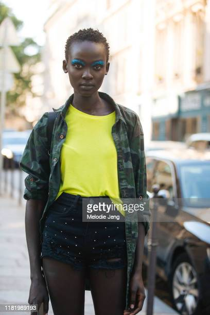 Model Aliet Sarah after the Valentino show during Couture Fashion Week Fall/Winter 2019 on July 03, 2019 in Paris, France.